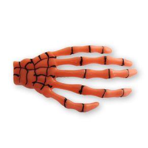 presilha-para-cabelo-mao-de-esqueleto-caveira-laranja