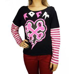 camiseta-manga-longa-preta-rock-rosa