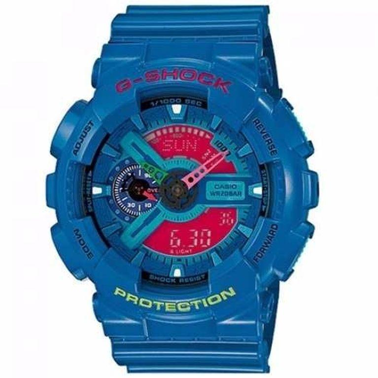 46c75530ff4 Relógio Casio G Shock Azul Rosa GA-110HC-2A - galleryrock