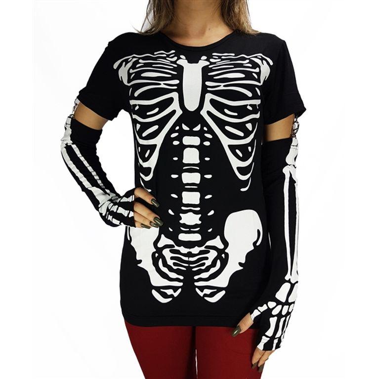 mejor selección 30f50 2dc67 Camiseta Manga Longa Esqueleto Preto - galleryrock