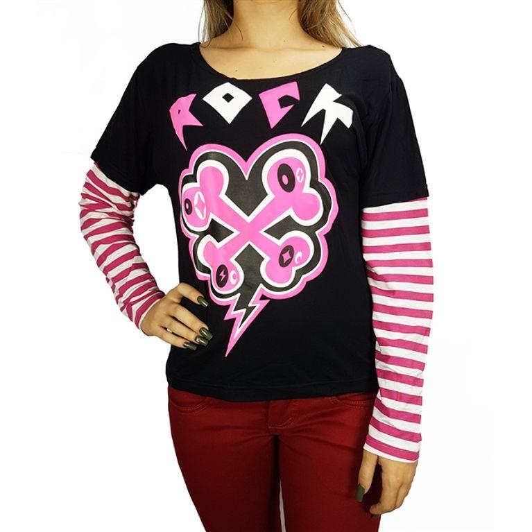 3bbd1c489 Camiseta Manga Longa Preta Rock Rosa - galleryrock