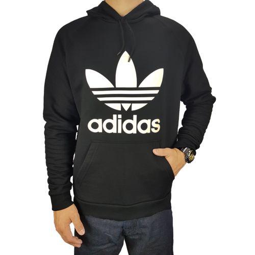 Blusa-Adidas-Trefoil-Hoody-Black-White-Preto
