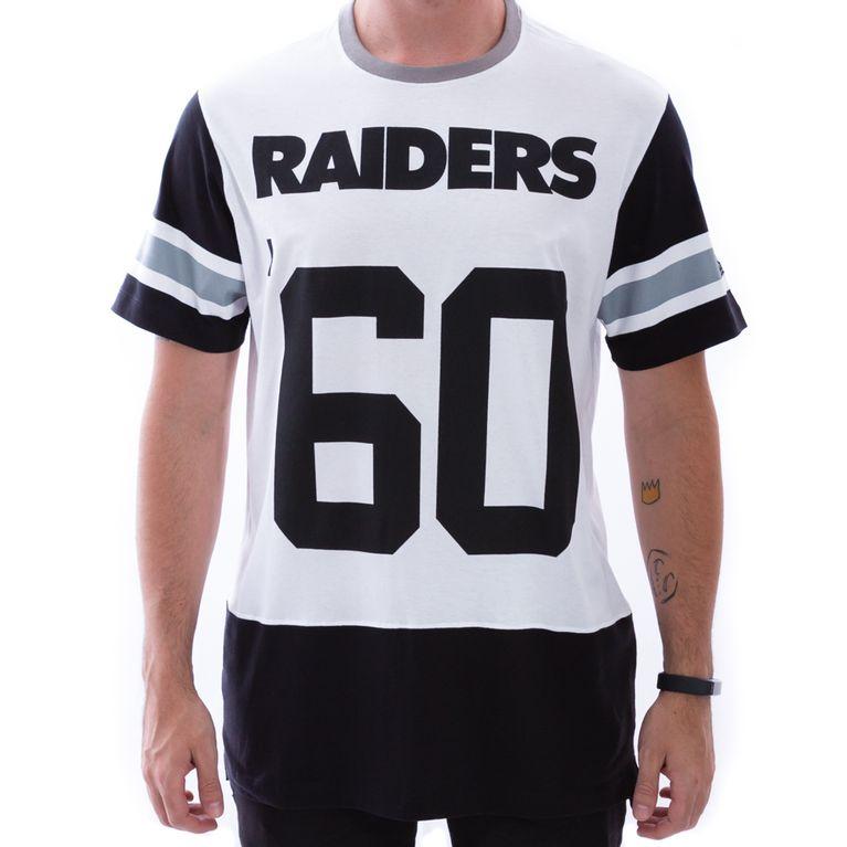 Camiseta New Era Long Date Oakland Raiders Preto Branco - galleryrock 893d68cde80