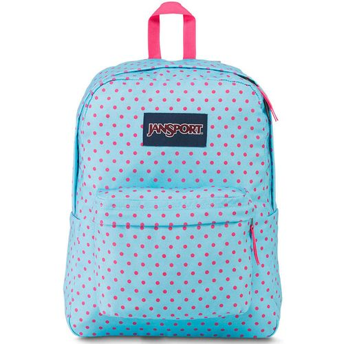 MOCHILA-JANSPORT-SUPERBREAK-BLUE-TOPAZ-LIPSTICK-KISS-DOT-O-RAMA