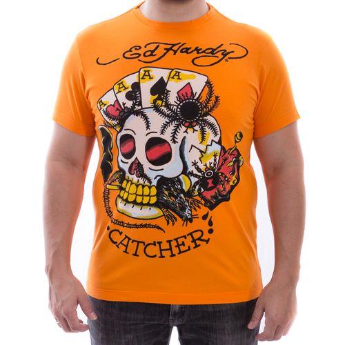 camiseta-ed-hardy-caveira-catcher-laranja-masculino