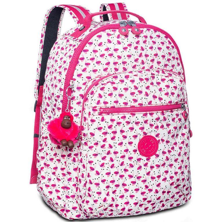 a53b8f4d7 Mochila Kipling Seoul Up Escolar Branca Rosa Pink Wings - galleryrock