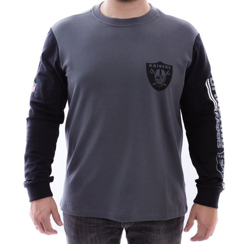 camiseta-new-era-manga-longa-bicolor-oakland-raiders-cinza-escuro