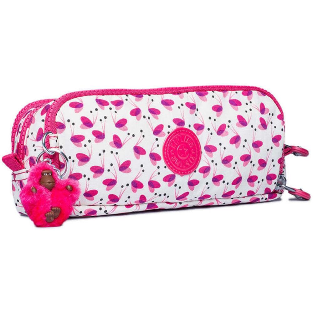 Estojo Kipling Gitroy Branco Rosa Pink Wings - galleryrock