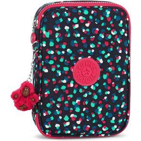 Estojo-Kipling-100-Pens-Azul-Rosa-Festive-Camo