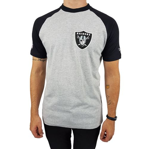Camiseta-New-Era-Blazon-Oakland-Raiders-Mescla-Preto-