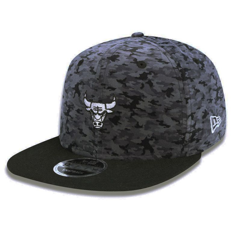 1c5bd244f Boné New Era 950 Military Camo Chicago Bulls Cinza Snapback ...