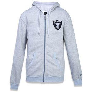 Moletom-New-Era-Aberto-Oakland-Raiders-Cinza
