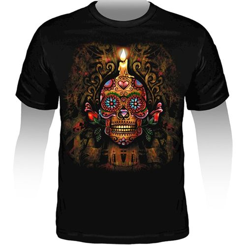 Camiseta-Tattoo-Mexican-Skull-Candle-