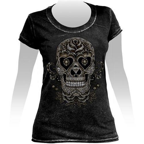 Camiseta-Feminina-Especial-Tattoo-Skul-and-Roses