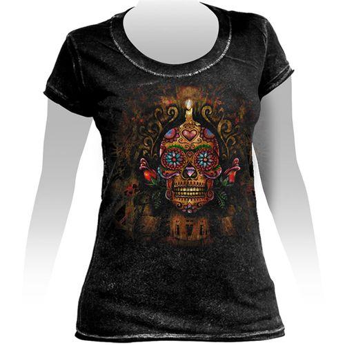 Camiseta-Feminina-Especial-Tattoo-Mexican-Skull-Candle