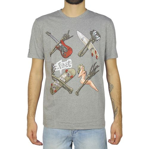 Camiseta-Lost-Skull-Hands-Cinza-Mescla