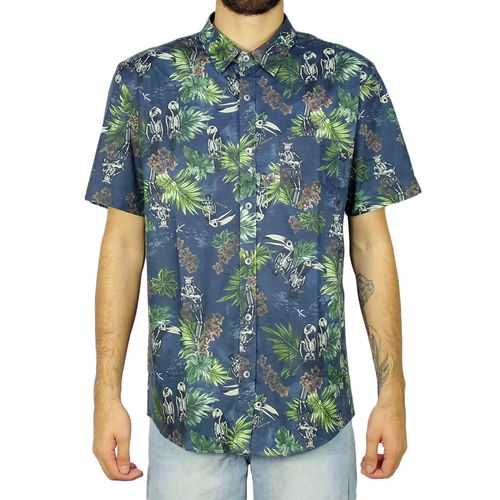 Camisa-Lost-Hawaiian-Skulls-Marinho