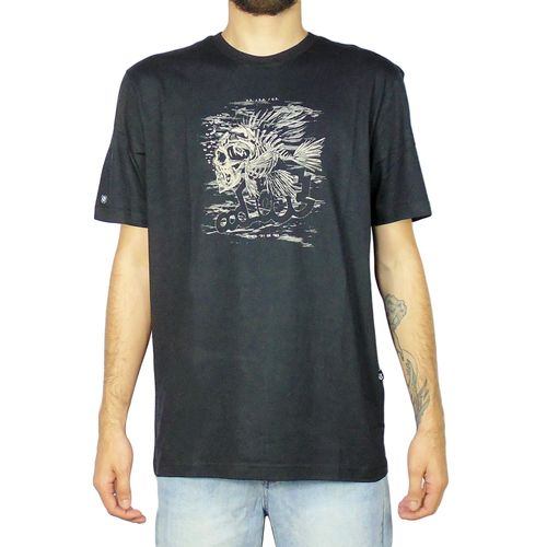Camiseta-Lost-Fish-Skull-Preto