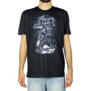 Camiseta-Lost-Mermaid-Skull-Preto