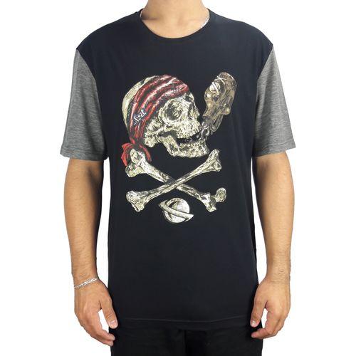 Camiseta-Lost-Pirate-Skull-Cinza-Preto