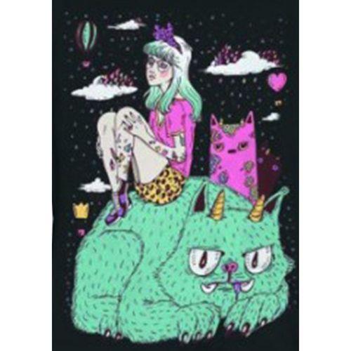 Camiseta-Babylook-Color-Cats-Preta