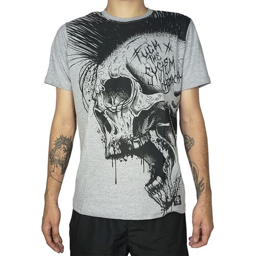 Camiseta-Fuck-the-System-Caveira-Mescla-