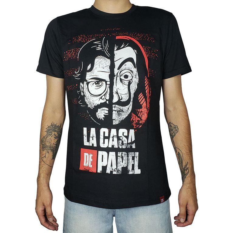 Camiseta La Casa de Papel Rosto Máscara Preta - galleryrock 873071c4acf94