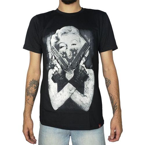 Camiseta-Marilyn-Monroe-Gun-Preta