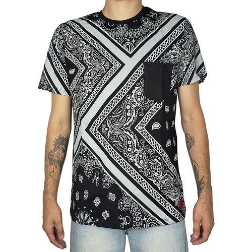 Camiseta-Bandana-Print-com-Bolso-Preta
