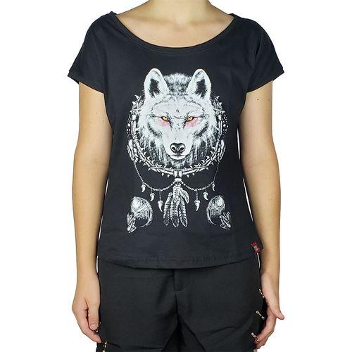 Camiseta-Canoa-Mandala-Wolf-Preta-