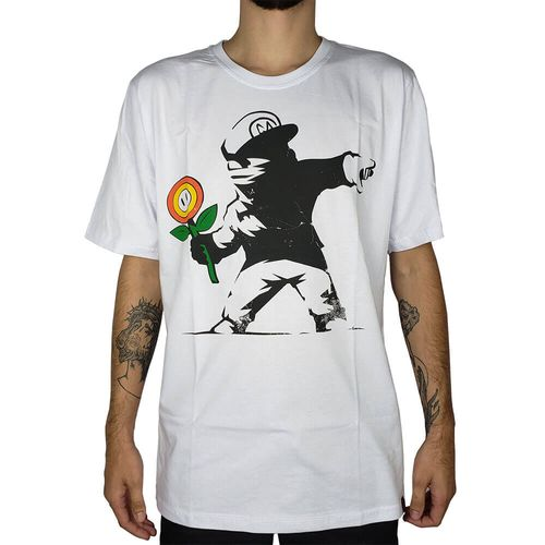 Camiseta-Banksy-Mario-Branca-