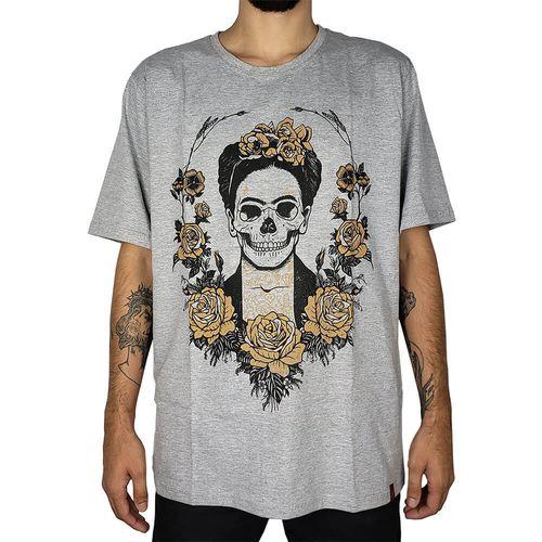 Camiseta-Frida-Kahlo-Skull-Mescla-Claro-