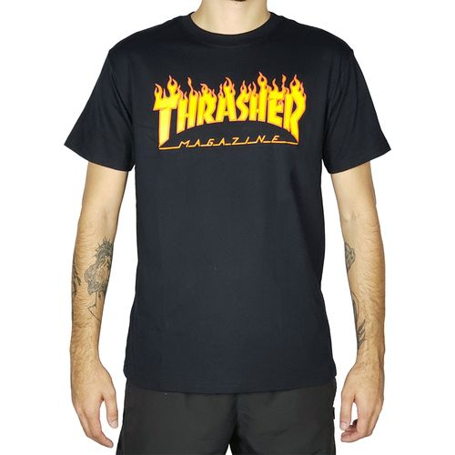 Camiseta-Thrasher-Flame-Logo-Preta-
