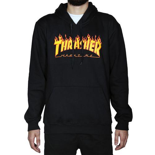 Blusa-De-Moletom-Thrasher-Capuz-Flame-Logo-Preto